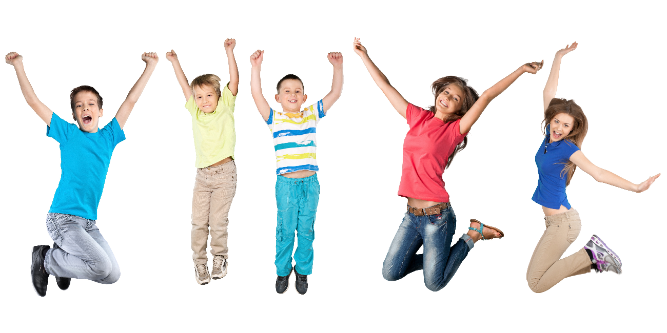 5 young children leaping in the air & smiling