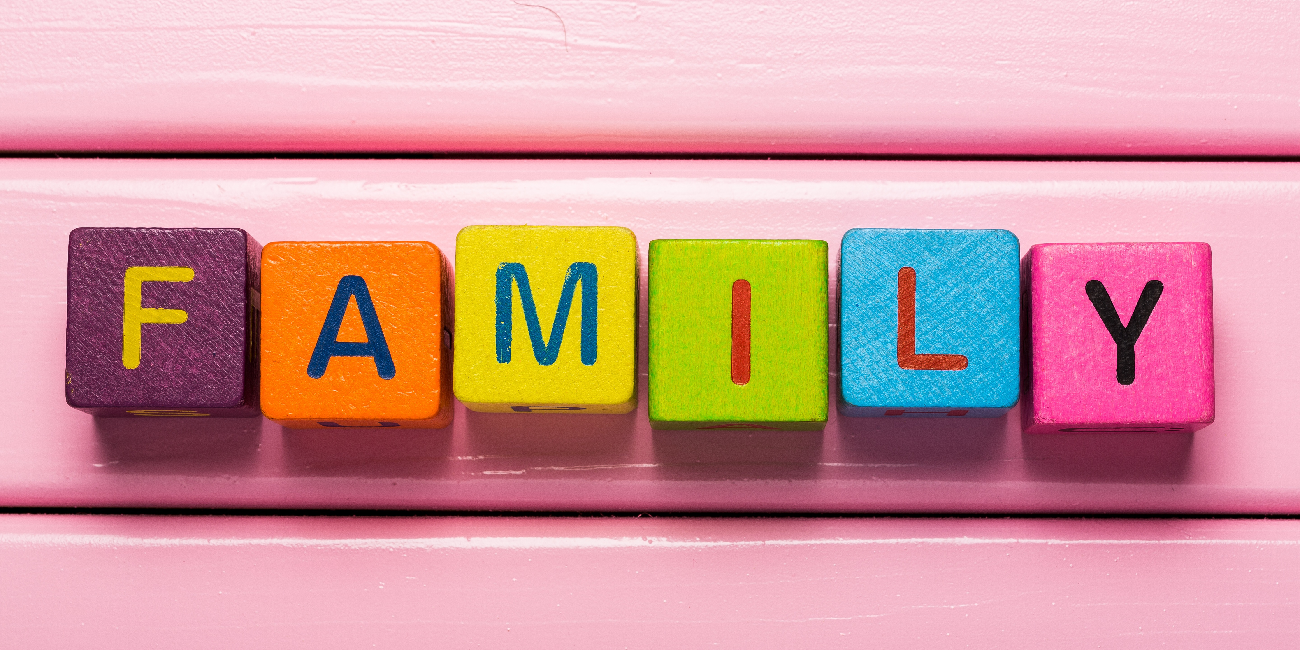 Coloured letters spelling family